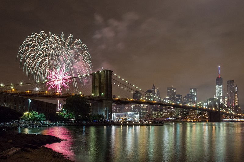 Fireworks Over the Brooklyn Bridge, Dec 31, 2015 by Nicole Pereira. http://www.nicolepereiraphoto.com/